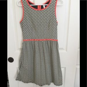 never worn black and white chevron dress with neon
